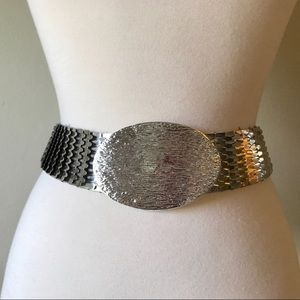 Vintage Silver Stretch Belt with Large Oval Buckle
